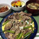 豚肉とにんにくの芽の卵とじ醤油炒め(2020/09/08)