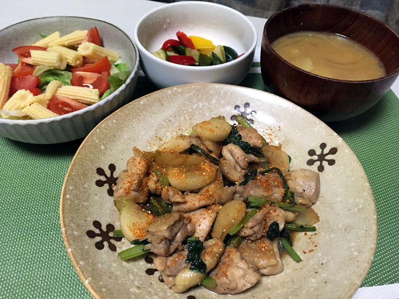 鶏肉とかぶの醤油炒め+ゆずとうがらし