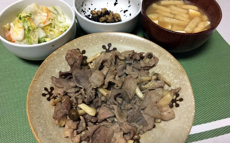 豚肉とぶなしめじのポン酢炒め