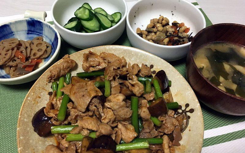 豚肉とにんにくの芽と茄子のコチュジャン炒め