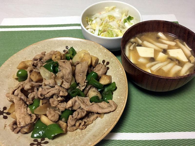 豚肉とエリンギとピーマンとかぶの醤油炒め