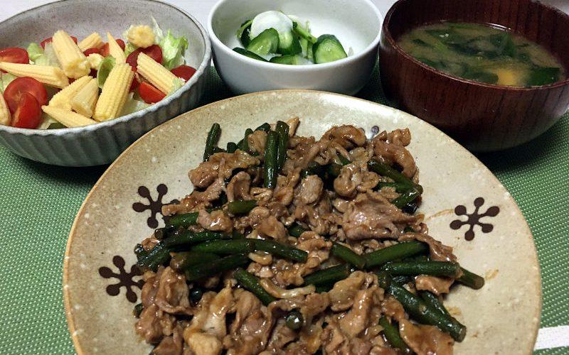 豚肉とにんにくの芽の中華風炒め