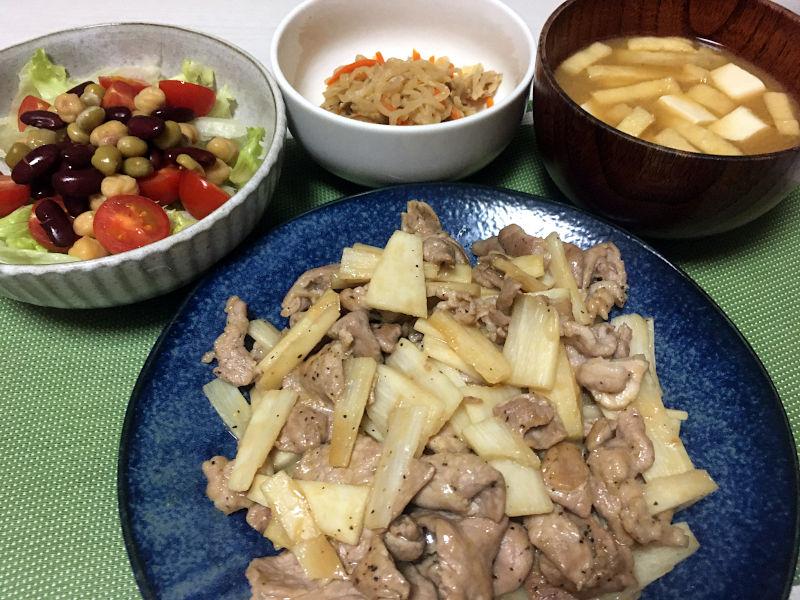 豚肉と長芋の醤油風味炒め