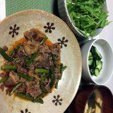 牛肉とにんにくの芽の甘辛炒め(2020/11/16)