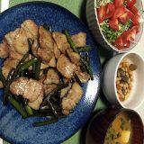 豚肉とにんにくの芽の甘辛醤油炒め