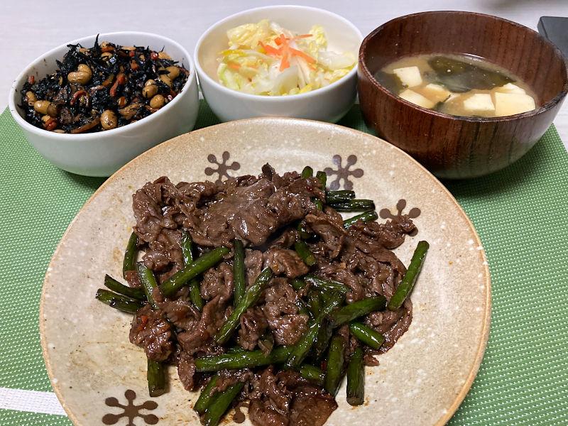 牛肉とにんにくの芽の甘辛煮