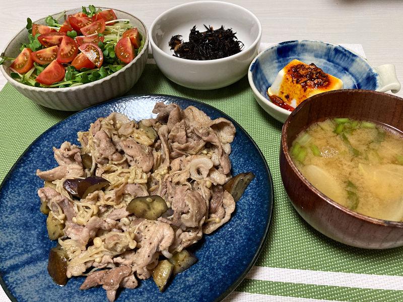 豚肉と茄子とえのき茸の醤油炒め