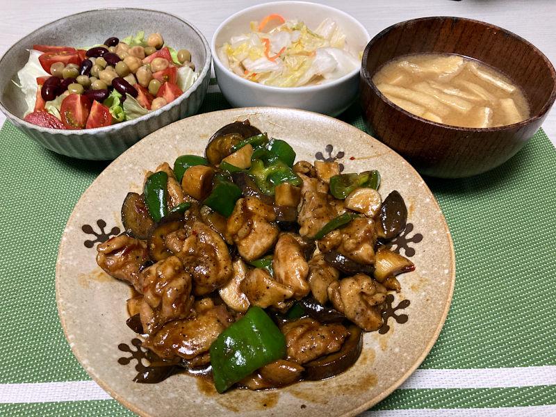 鶏肉と茄子のピリ辛炒め