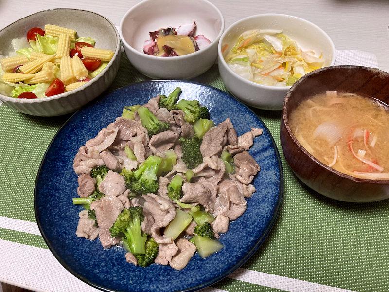 ブロッコリーと豚肉の塩炒め