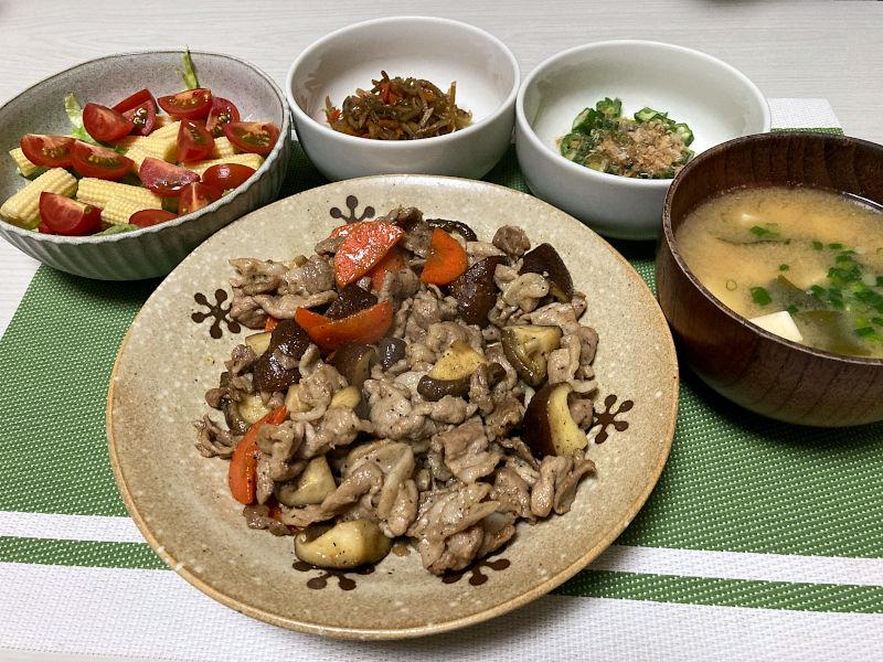 豚肉と椎茸のバター醤油炒め