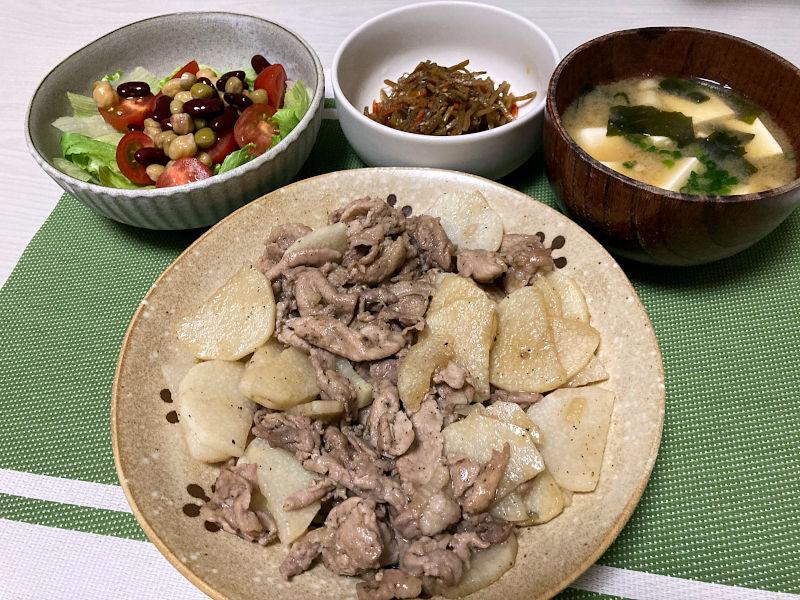 豚肉と長芋の甘辛炒め
