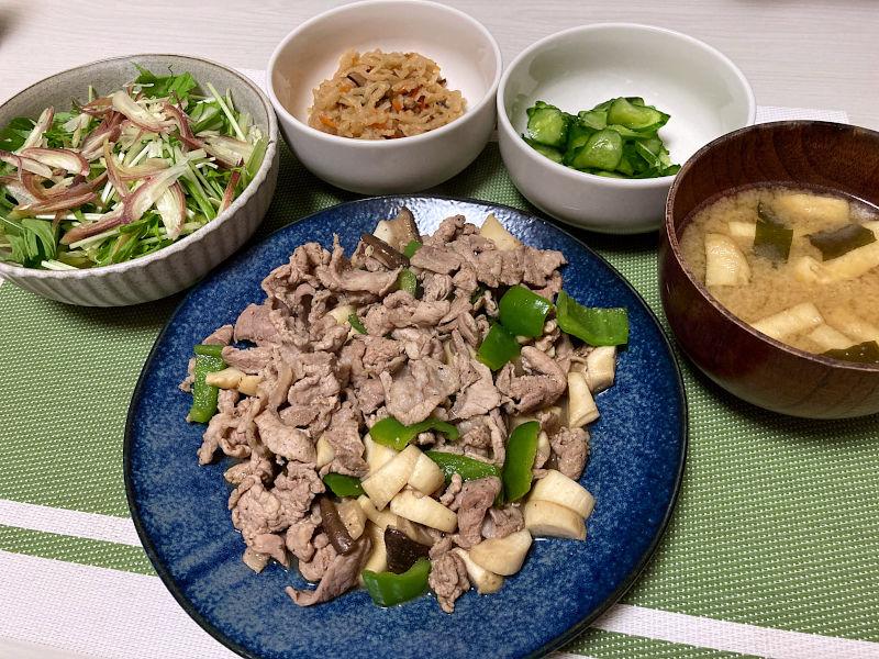 豚肉とピーマンとエリンギのポン酢炒め