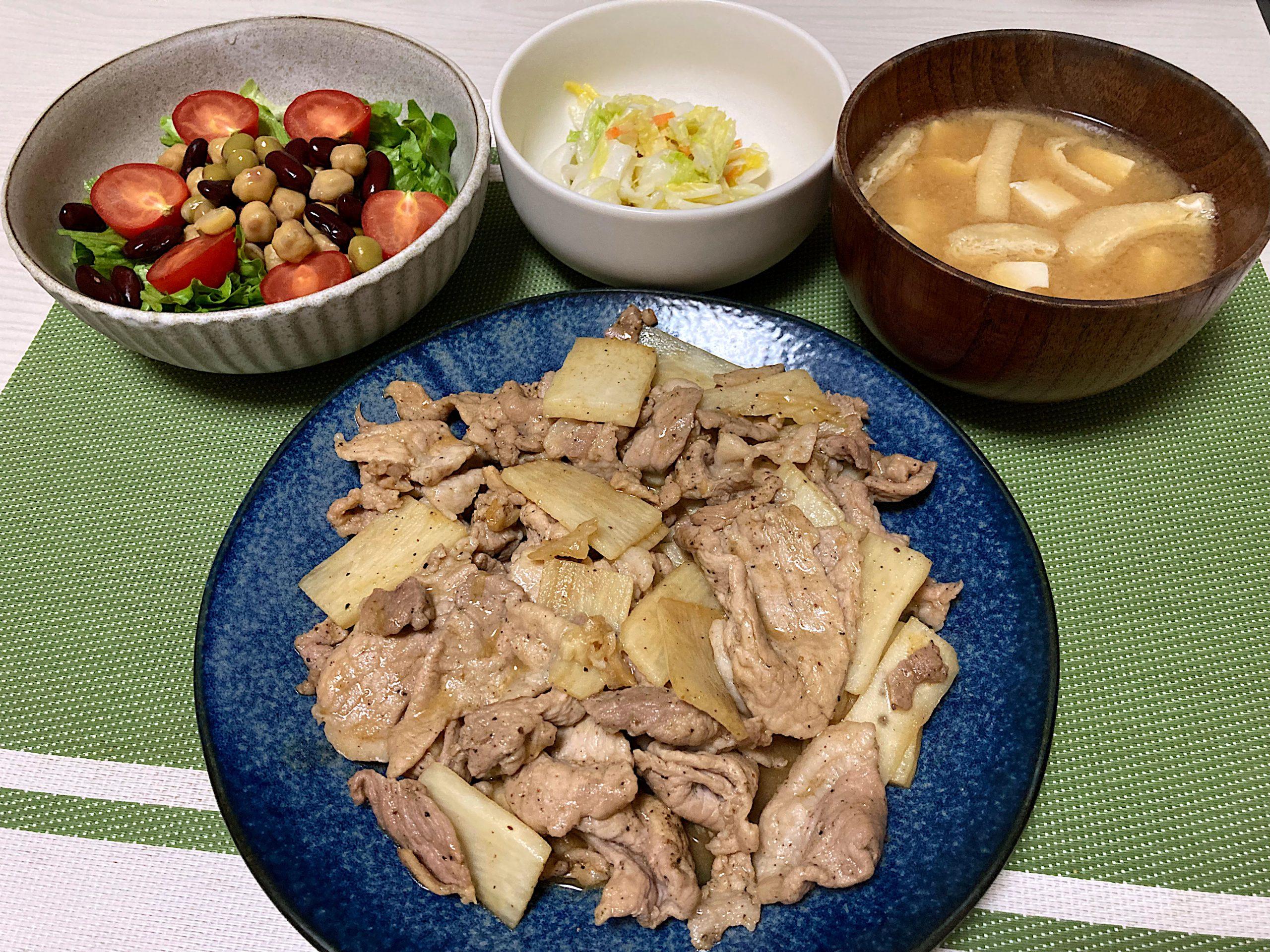 豚肉と長芋の醤油炒め