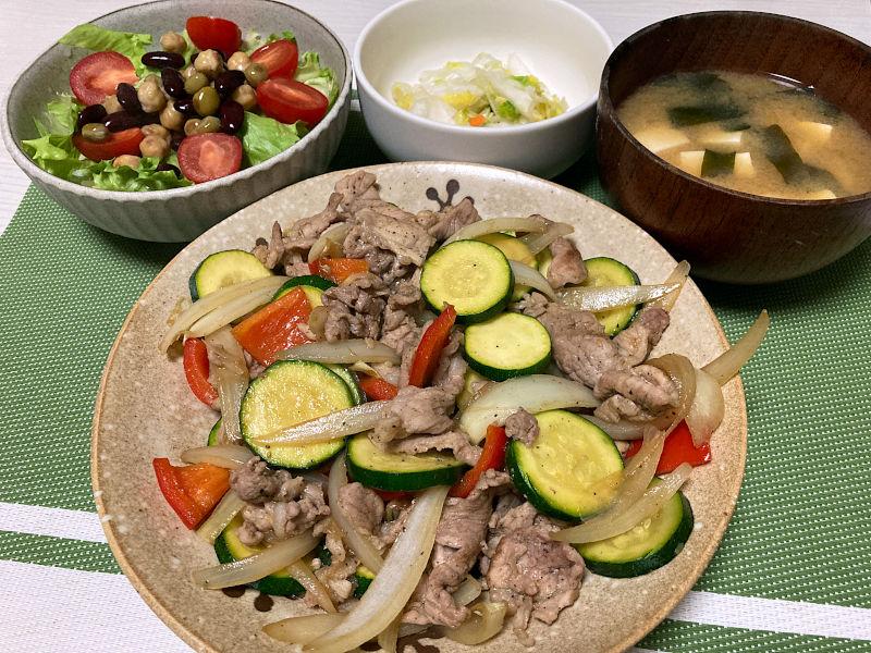 豚肉と夏野菜の甘辛炒め