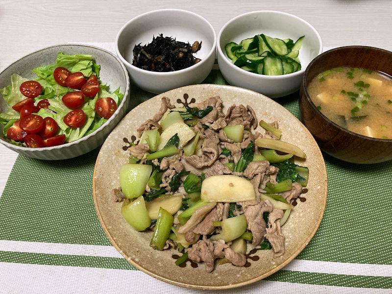 豚肉とかぶとチンゲン菜の甘辛炒め